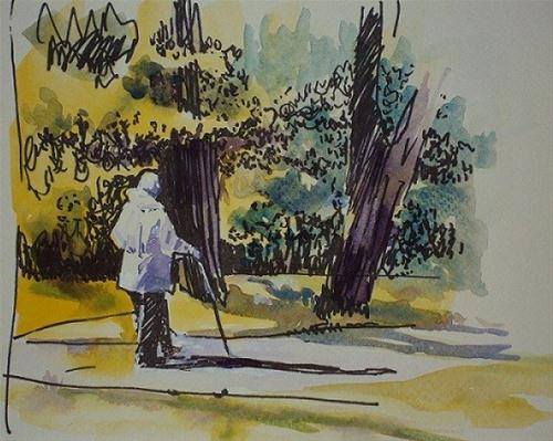 """Latvia #3 the Walker"" original fine art by Nicola Dalbenzio"
