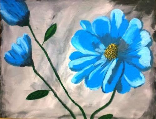 """Blue Flower 1"" original fine art by Brenda Smith"