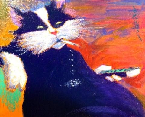 """""""COUCH CAT !"""" original fine art by Jeff Leedy"""