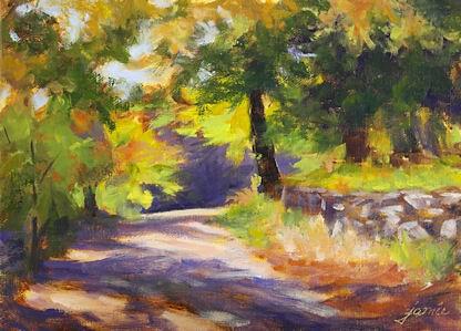 """Sunlit Path in Autumn"" original fine art by Jamie Williams Grossman"
