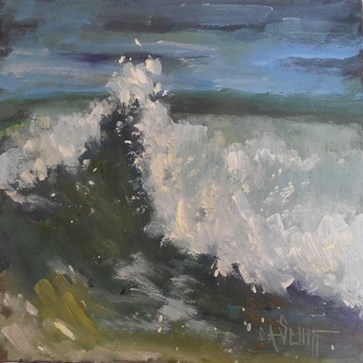 """Small Seascape, Wave Painting, Daily Painting, Small oil painting, Cresting, 8x8x1.5"" original fine art by Carol Schiff"