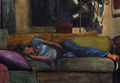 """Watercolor: Unwind (& a painting by Adrienne Trafford)"" original fine art by Belinda Del Pesco"