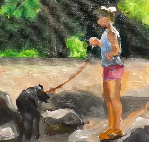 """A girl holding a dog,U9"" original fine art by Run-      Zhang Zane"