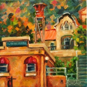 """JEROME TOWN HALL"" original fine art by Kristy Tracy"