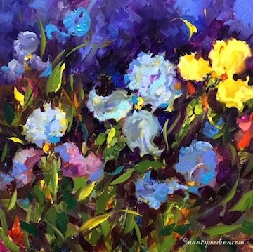 """Beyond the Storm Iris Garden - Flower Painting Classes and Workshops - Nancy Medina Art"" original fine art by Nancy Medina"