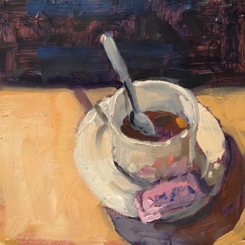 """Coffee Break"" original fine art by Deborah Newman"