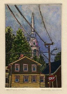 """Monotype: Westfield Church"" original fine art by Belinda Del Pesco"