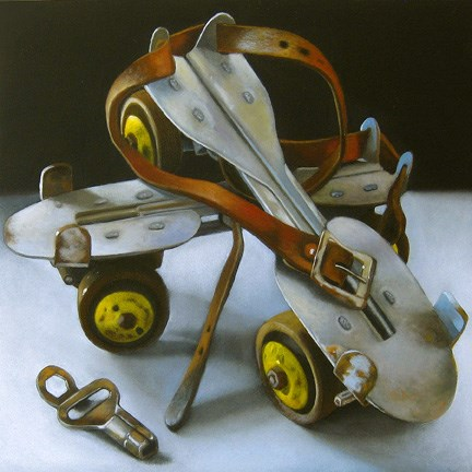 """Skates With Key 6x6"" original fine art by M Collier"