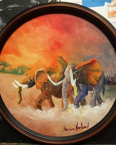 """Nadine's  Elephants"" original fine art by Barbara Haviland"