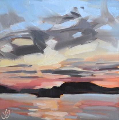 """Sunset Lake"" original fine art by Jessica Green"