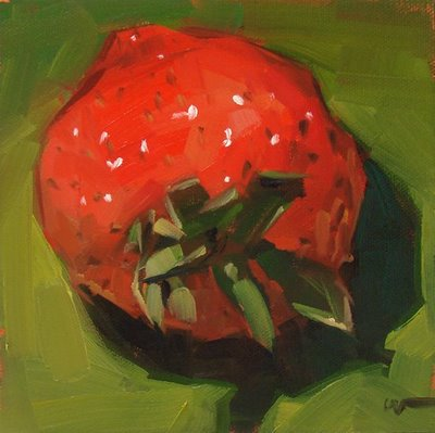 """Strawberry-zilla --- SOLD"" original fine art by Carol Marine"
