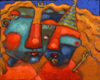 """Carol And Lionel: Party Animals"" original fine art by Brenda York"