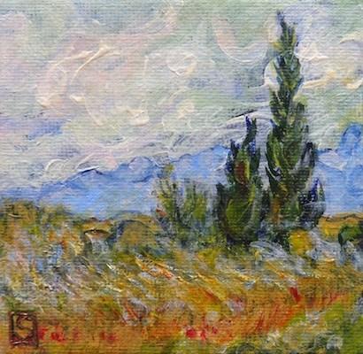 """4065 - Van Gogh Trees - Mini Master Series"" original fine art by Sea Dean"