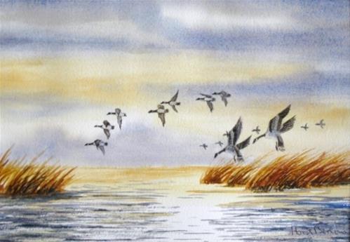 """The Landing"" original fine art by Horst Berlow"