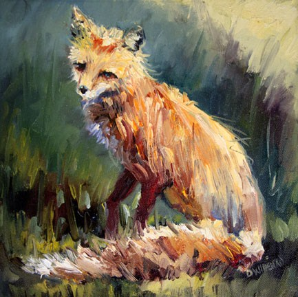 """FOX ANIMAL ART OIL PAINTING Diane Whitehead Fine Art"" original fine art by Diane Whitehead"