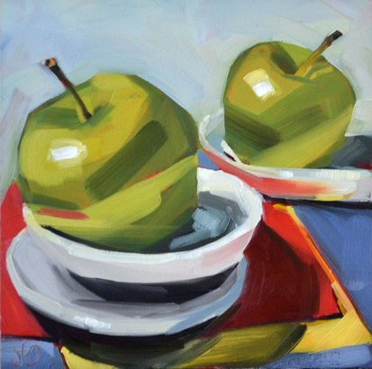 """Apple Stack"" original fine art by Jessica Green"