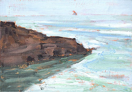 """Haze Again, Ocean Beach"" original fine art by Kevin Inman"