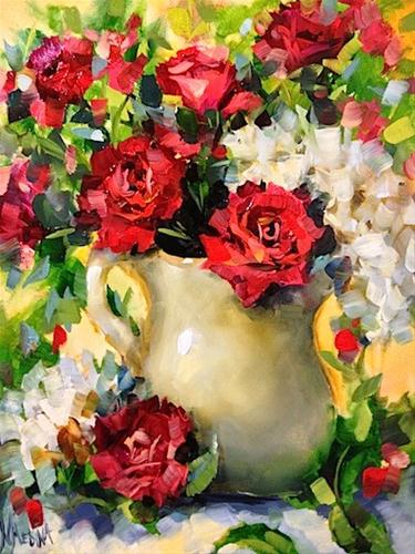 """A Million Kisses Red Roses by Texas Flower Artist Nancy Medina"" original fine art by Nancy Medina"