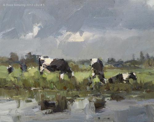 """""""Landscape spring #33 Cows in rain Koeien"""" original fine art by Roos Schuring"""