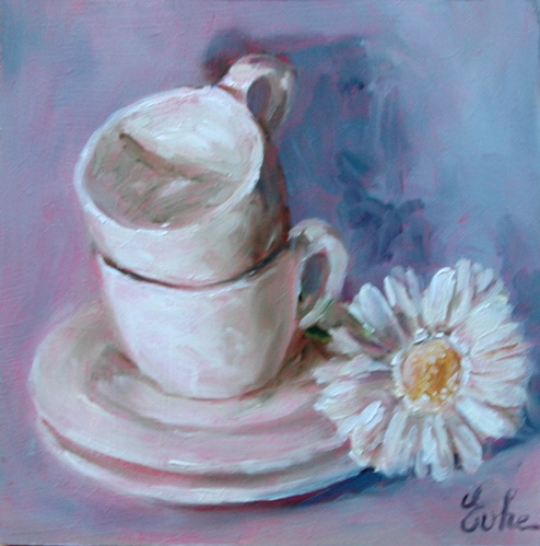 """Tasses et fleur"" original fine art by Evelyne Heimburger Evhe"