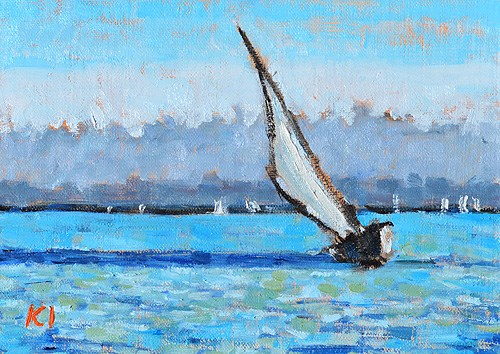 """San Diego Sailboat Painting"" original fine art by Kevin Inman"