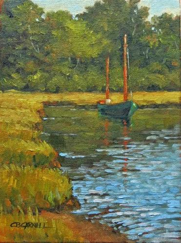 """'The Green Boat'   Chappaquiddick, Martha's Vineyard, MA  An Original Oil Painting by Claire Beadon"" original fine art by Claire Beadon Carnell"