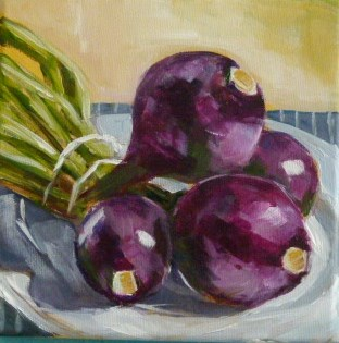 """Onion,s purple"" original fine art by Sabine Hüning"