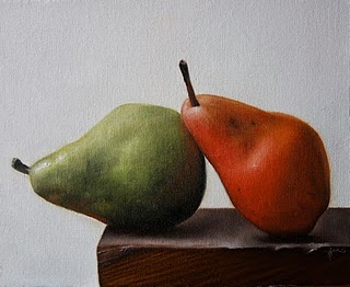 """Leaning Pears"" original fine art by Jonathan Aller"