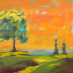 """Orange Patchwork Sky - Framed"" original fine art by Janet Bludau"