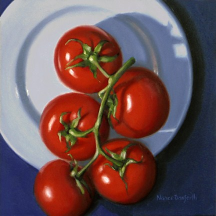 """Tomatoes on White Plate II"" original fine art by Nance Danforth"