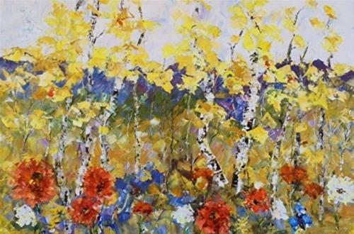 """""""Palette Knife Aspen , Poppy Landscape Painting Spring Territory by  Colorado Impressionist Judith"""" original fine art by Judith Babcock"""