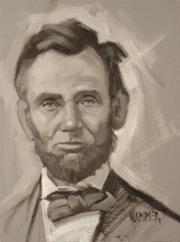 """Lincoln in gris"" original fine art by Claudia Hammer"