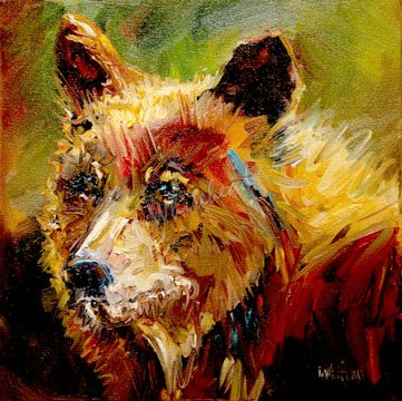 """CINNAMON BEAR WILD LIFE ANIMAL OIL PAINTING D WHITEHEAD ARTOUTWEST DAILY PAINTING JANUARY 4"" original fine art by Diane Whitehead"