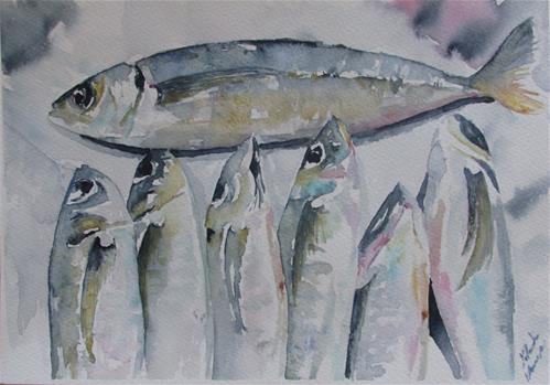 """Mackerel"" original fine art by Yolanda Moreno"