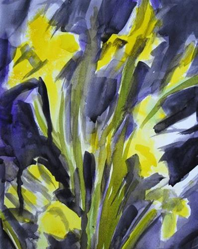 """Yellow Irises 2"" original fine art by Donna Crosby"