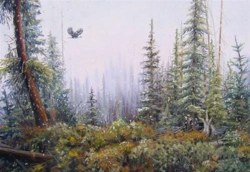 """Colorado Winter Snow Landscape Painting First Snow at Arrowhead by  Nancee Jean Busse, Painter of"" original fine art by Nancee Busse"