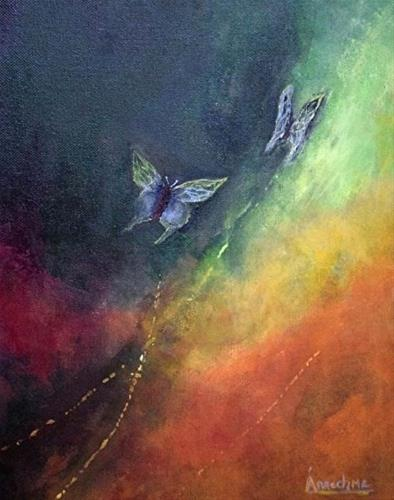 """Abstract Art Painting,Butterfly,Environmental Art Breaking Free by International Artist Arrachme"" original fine art by Arrachme Art"