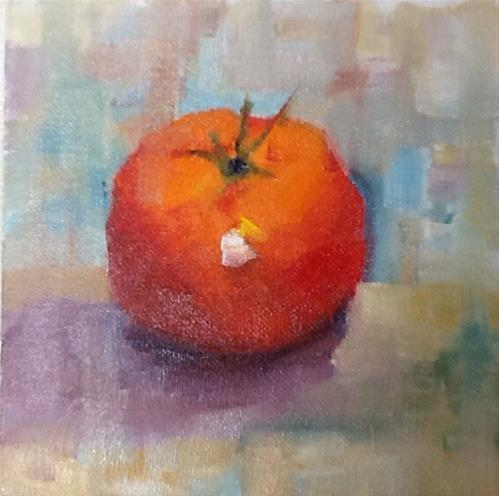 """Orange Tomato"" original fine art by Peggy Schumm"