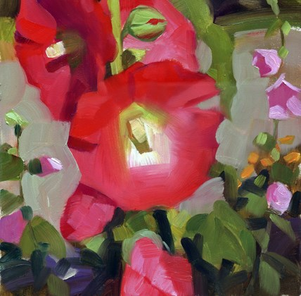 """Red Hollyhocks- sold"" original fine art by Kathy Weber"