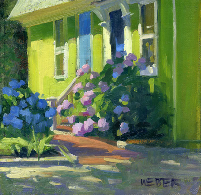 """Hydrangea house"" original fine art by Kathy Weber"
