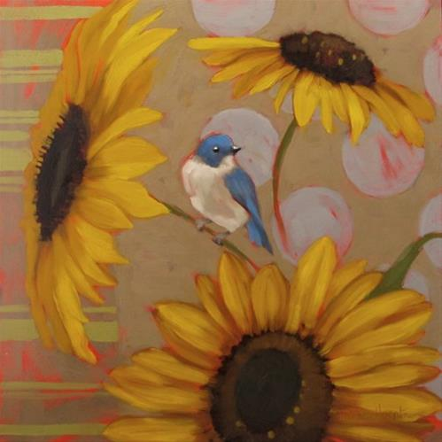 """Blue Bird on Sunflower decorative painting"" original fine art by Diane Hoeptner"