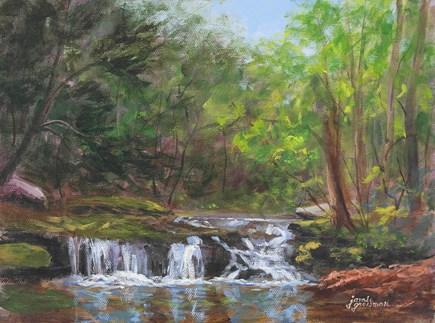 """Woodland Falls"" original fine art by Jamie Williams Grossman"