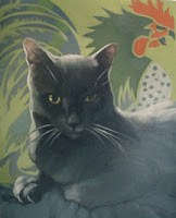 """""""Untitled Cat Painting and summer observations"""" original fine art by Diane Hoeptner"""