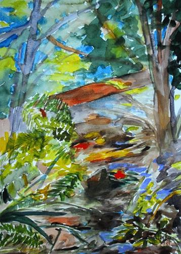 """Stream Through The Garden"" original fine art by Donna Crosby"