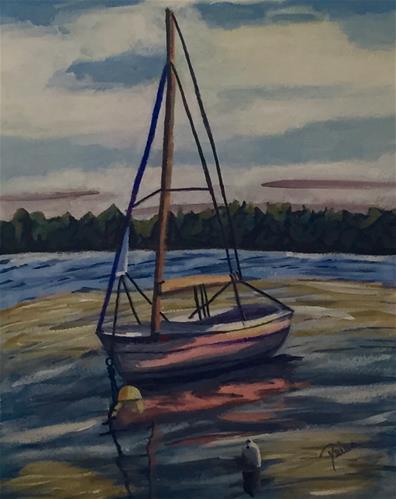 """Sunset Sailboat"" original fine art by Reisa Peters"