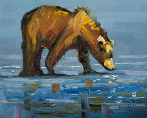 """#17 BEACH BEAR 100 DAYS OF WILD LIFE OIL PAINTING"" original fine art by Diane Whitehead"