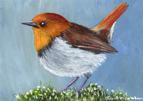 """Japanese Robin ACEO"" original fine art by Janet Graham"