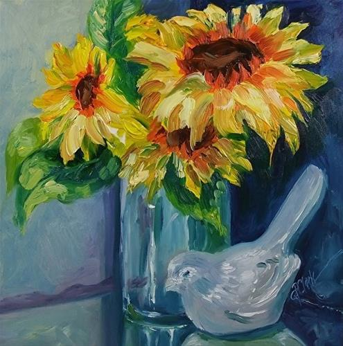"""Sunny Days Ahead, 8 x 8 Oil, Still Life"" original fine art by Donna Pierce-Clark"