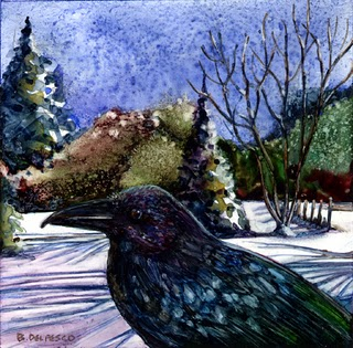 """Watercolor: Iridescent Crow"" original fine art by Belinda Del Pesco"