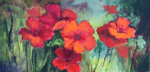 """Field of Poppies Floral Paintings by Arizona Artist Amy Whitehouse"" original fine art by Amy Whitehouse"